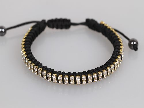 Two Row Crystal Black Friendship Bracelet